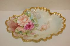 296: Hand Painted Limoges Shaped Bowl Roses, signed : Lot 296