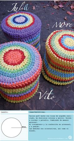Inspiration - made with fabric Crochet Hammock, Diy Hammock, Crochet Cushions, Crochet Pillow, Crochet Home, Crochet Yarn, Knitting Yarn, Crochet Pouf Pattern, Crochet Patterns