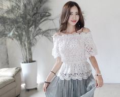 Loveliness of the female clothing shop. [Whitefox] BL Powder Sugar / Size : FREE / Price : 31.11 USD Lace in a romantic and luxurious feel feminine blouse grows. #tops #blouse #flower #luxury #koreafashion #womanfashion #dailylook #chic #OOTD #WHITEFOX