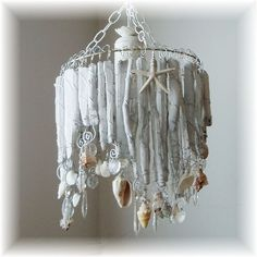 Driftwood and shell chandelier