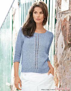 Пуловер с рукавами до локтя из тонкой пряжи. Спицы.