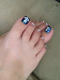 Nautical but with blue nails white tips