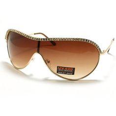Gold Rhinestoned Flat Top Women's Oversized Shield Warp Around Aviator Sunglasses 106Shades. $9.90