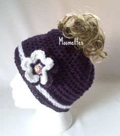 Handmade Messy Bun Beanie White Dark Purple Hat with Crochet Flower