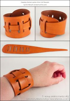 Adjustable claspless slotted leather wrist cuff bracelet, by Erin 'Eirewolf' Met… - Leather Jewelry Leather Art, Leather Cuffs, Leather Tooling, Leather Jewelry, Leather Bracelets, Leather Store, Braided Bracelets, Leather Design, Metal Jewelry