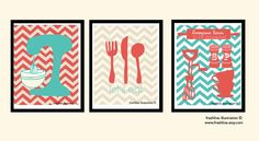 Kitchen Wall Art - Mixer, Utensils, Salt and Pepper - Coral and Turquoise - Three 8x10 Art Prints. $49.95, via Etsy.