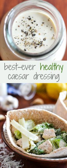 Best-Ever Healthy Caesar Dressing + Caesar Salad Pita Pocket - Delicious, homemade healthy dressing recipe that taste WAY better than the yogurt-based ones. SO good! 21 Day Fix approved!