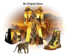 Tiger and Sunset 3/4 sleeve dress, crossbody bag, Martin boots. Design by #erikakaisersot   visit #beoriginalstore https://www.beoriginalstore.com/collections/tiger-and-sunset-1