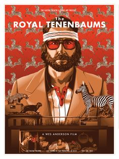 The Royal Tenenbaums, poster from Bad Dad's Wes Anderson Tribute Art The Royal Tenenbaums, Martin Scorsese, Anjelica Huston, La Famille Tenenbaum, Wes Anderson Movies, Wes Anderson Poster, Spoke Art, Indie Movies, Photography
