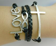 Unisex simple fashion silver Infinite hope, Cross and love pendant leather braided bracelet--silver 8 black wax and PU braided rope on Wanelo