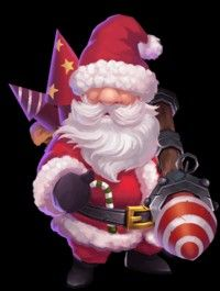 Santa boom. Legendary hero. Skill is fireworks in different directions.