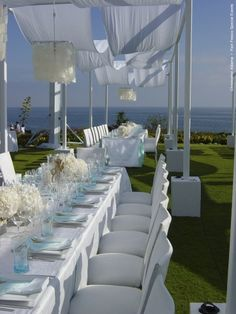 Love the ocean view on grass. Very nice all-white wedding dazzles with just a subtle touch of blue. All White Wedding, Our Wedding, Dream Wedding, Wedding Ideas, Wedding Stuff, Wedding Inspiration, Wedding Reception Design, Wedding Events, Wedding Ceremony