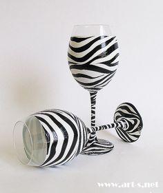 Hand Painted Wine Glasses/ Set of 2/ Zebra by HandPaintedGlassArtS
