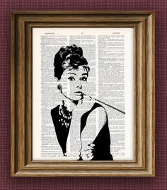Audrey Hepburn illustration beautifully upcycled by collageOrama, $6.99