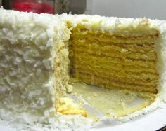 pineapple cake layer | Smith Island Cake with Coconut Frosting