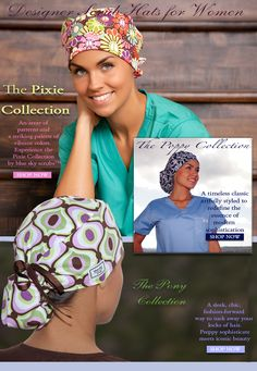Scrub Hats - Scrub Hats for Women - blue sky scrubs.for my nurse sisters Scrub Hat Patterns, Scrubs Pattern, Bandana, Surgical Caps, Surgical Tech, Nurse Hairstyles, Hair Cover, Medical Scrubs, Scrub Caps