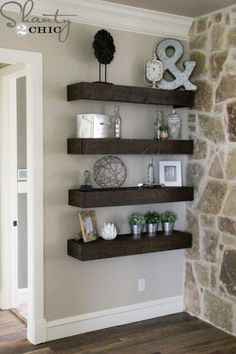 Excellent How to build simple floating shelves. – for living room wall between fireplace & master The post How to build simple floating shelves. – for living room wall between fireplace &… appeared first on Derez Decor . My Living Room, Home And Living, How To Decorate Living Room Walls, Living Room Shelf Decor, Living Room Shelving, Rustic Living Room Decor, Living Room Wall Ideas, Corner Wall Decor, Modern Living