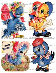 Vintage 1940s Blue Bird Birthday Greeting Card Digital Download 210 - by Vintage Bella. $3.50, via Etsy.