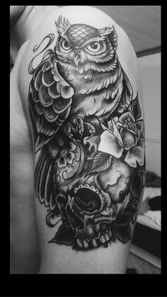 Owl Tattoos - Check the recent tattoo design ideas Owl Skull Tattoos, Wolf Tattoos, Feather Tattoos, Leg Tattoos, Body Art Tattoos, Girl Tattoos, Tattos, Cool Tattoos For Guys, Great Tattoos