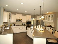 Very well done, and achievable KITCHEN! Neutral kitchen, brown, gray, white, quartz
