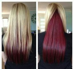Blonde instead of red bottom layer, to peek out underneath my naturally brunette hair AND ready for any rainbow of Punky Colour dye! Love Hair, Gorgeous Hair, Pretty Hairstyles, Straight Hairstyles, Blonde Hairstyles, Perfect Hairstyle, Fringe Hairstyles, Hairstyles Haircuts, Hairstyle Ideas