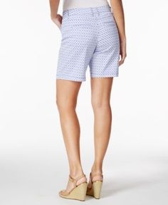 Charter Club Printed Denim Shorts, Only at Macy's - Blue 16