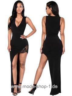 Sexy Sommerkleid mit V-Ausschnitt in Schwarz