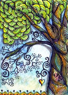 TRADED...TREE OF LIFE...SECRET MEETING PLACE by Margaret Storer-Roche, via Flickr zentangle