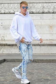 Justin Bieber wearing Gosha Rubchinskiy Hooded Sweatshirt with Embroidery and Adidas Energy Boost 3 Shoes in Running White Ftw/Charcoal Solid Grey