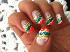 Sparkly Striped Nails | Orange, Green, White, Gold Nails | Irish Flag Nails | St. Patrick's Day Nail Art | Nail It Magazine