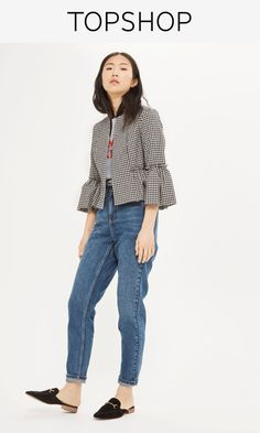 Add a pretty touch to your outer layers with this cropped jacket in gingham, featuring raw edge frill detail to the sleeves.