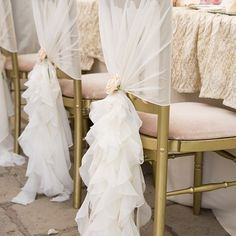 Our chiffon ruffles are the perfect way to decorate your chairs! #chairstyling #pumpkinevents #wedding #chairdecoration #birtsmortoncourt #damienlovegrove