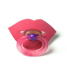 Hot Lips Pacifier  BPA Free  Pink or Red by posiesnpinwheels, $8.75