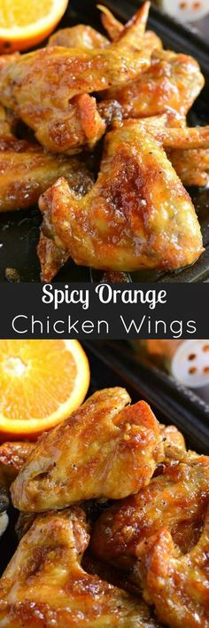 Baked chicken wings slathered in an easy homemade sp… Spicy Orange Chicken Wings. Baked chicken wings slathered in an easy homemade spicy orange glaze will make any party a smash! Orange Chicken Wings Recipe, Baked Chicken Wings, Chicken Wing Recipes, Chicken Meals, Glazed Chicken, Baked Orange Chicken, Party Chicken, Chicken Pizza, Healthy Chicken