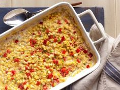Baked Creamed Corn With Red Bell Peppers and Jalapenos Recipe : Ree Drummond : Recipes : Food Network Jalapeno Recipes, Corn Recipes, Side Dish Recipes, Vegetable Recipes, Jalapeno Corn, Veggie Meals, Healthy Dinners, Quick Recipes, Recipes