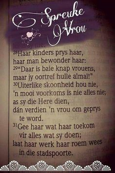 Spreuke vrou Biblical Quotes, Bible Verses Quotes, Prayer Quotes, Wisdom Quotes, Afrikaanse Quotes, Morning Greetings Quotes, Morning Quotes, Strong Quotes, Happy Thoughts