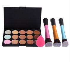 15 Concealer Palette Angled Brush Sponge Puff Makeup Contour Synthetic HBM049 #Unbranded