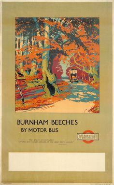 Poster by Walter E Spradbery, Burnham Beeches London Transport Museum, Public Transport, Railway Posters, Vintage Travel Posters, Travel Images, Magazine Art, Graphic Design Illustration, Order Prints, Retro
