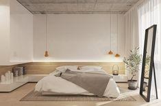 decoracion dormitorios, dormitorio minimalista, cama doble a ras del suelo, espejo negro, lámparas colgantes naranja