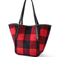 Charlie Paige Alexa Market Tote - Festive and fun black and red plaid tote bag with solid black straps and black faux leather accents Red And Black Plaid, Red Plaid, Solid Black, Black Faux Leather, Fashion Accessories, Tote Bag, Purses, Bags, Fall Season