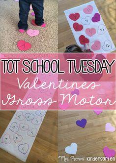 Valentines gross motor activities for tot school, preschool, or kindergarten. {Mrs. Plemons' Kindergarten}