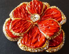 Coral Red Flower Brooch YSL Yves Saint Laurent R Goossens Gold Tone Red Camellia…