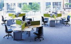 Call center furniture with green mullions #callcenterfurniture