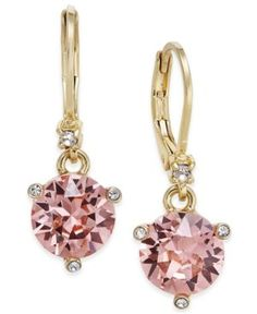 kate spade new york Gold-Tone Pave & Pink Cubic Zirconia Drop Earrings  - Gold
