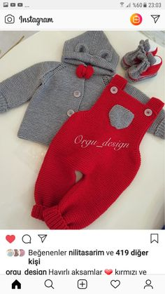 Overall-Modell – Bebek yelek - Baby Clothes Baby Pants Pattern, Baby Booties Knitting Pattern, Baby Boy Knitting Patterns, Newborn Crochet Patterns, Baby Patterns, Crochet Baby Pants, Knitted Baby Clothes, Baby Vest, Baby Cardigan