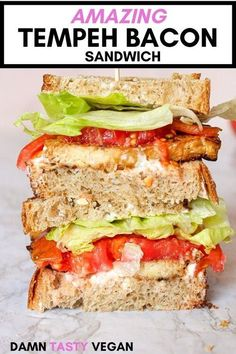 How to make a delicious vegan tempeh bacon sandwich.  Easy to make and high in protein.  Hits all of the same flavor notes as bacon: salty, savory, rich, smokey and tasty.  Easy to make and contains no cholesterol. Eat tempeh bacon for a delicious vegan breakfast with tofu scramble, or throw it in a vegan blt sandwich for lunch. #vegan #vegetarian #tempeh #sandwich #highprotein High Protein Vegan Recipes, Delicious Vegan Recipes, Easy Healthy Recipes, Whole Food Recipes, Tasty, Vegan Weeknight Meals, Vegan Dinners, Vegan Lunches, Vegan Snacks