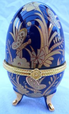 Porcelain Egg Hinged Trinket Box Blue Gold Design
