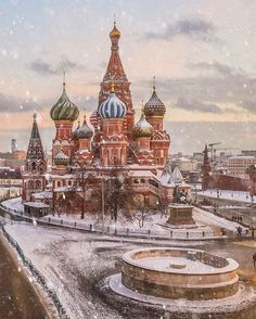 """I've lived in Moscow all my life, but every time I walk around, I find a new way to look at the city and fall in love, especially when it snows. The white blankets the buildings and softens the shadows; it brings back a quiet, precious feeling from childhood. Snow helps me to enjoy the moment, like this one illustrated with the Saint Basil Cathedral in the old Red Square."" @elenakrizhevskaya Moscow, Russia #passionpassport"