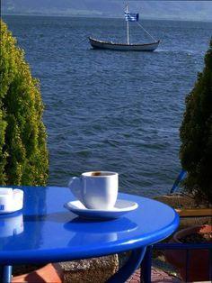 by Greece. Best coffee time ever I Love Coffee, Best Coffee, My Coffee, Brown Coffee, Coffee Cafe, Coffee Drinks, Coffee Shop, Coffee Lovers, Good Morning Coffee