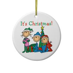 Stick Figures It's Christmas Ornament by christmasshop Click on photo to purchase. Check out all current coupon offers and save! http://www.zazzle.com/coupons?rf=238785193994622463&tc=pin